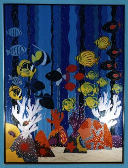 """Reefscape"" painting by Anne Adams in the studio"